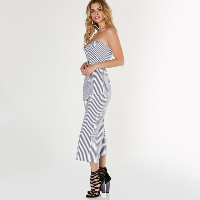 Striped Off-shoulder Jumpsuits for Women