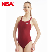 NSA One Piece Elegant Black Triangle Competition Training Swimsuit Waterproof Chlorine Resistant Women S Swimwear
