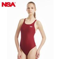 NSA One Piece Elegant Black Triangle Competition Training Swimsuit Waterproof Chlorine Resistant Women S Swimwear