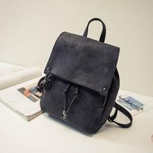 Женщины кожаные рюкзаки для подростков девочек женщин мода строка сплошной черный школьные сумки женские рюкзак sac dos femme