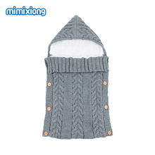 цена на Autumn Envelope for Newborn Baby Sleeping Bags Winter Warm Infant Stroller Sleep Sack Cable Knitted Toddler Outdoor Swaddle Wrap
