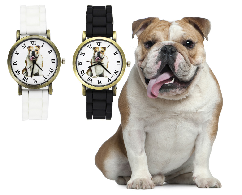 Bulldog Pet dragoste Dog Bărbați Femei ceasuri Moda Sport Casual Black White Silicon Watchband Unisex încheietura mîinii Quartz Watch