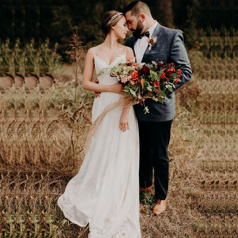LORIE Boho Wedding Dress 2019 Spaghetti Strap A Line Lace ...