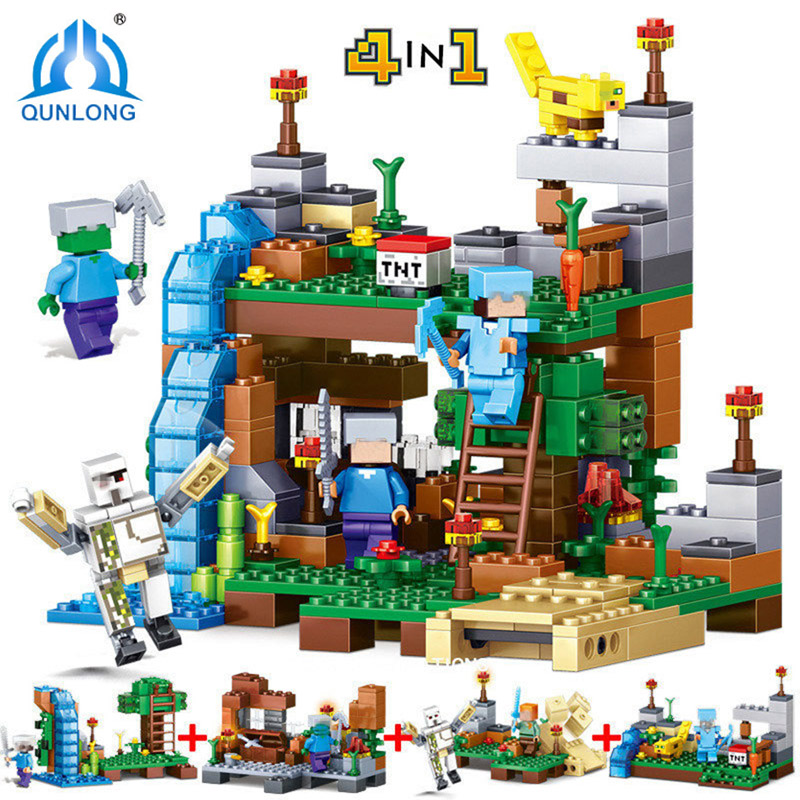 Qunlong 378pcs 4 in 1 My World Compatible Legoed Minecrafted Figures City Building Blocks Bricks Educational Toys For Kids Gift minecrafted building blocks toys bricks figures compatible legos minecraft friends city toys birthday gift for kids gift toys
