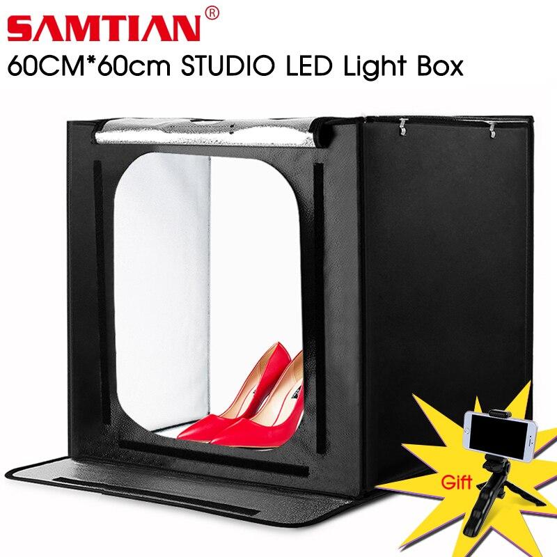 Caixa de luz samtian f60 60*60 cm led lightbox dobrável softbox com três cores fundo para estúdio foto fotografia caixa
