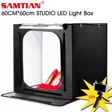 SAMTIAN F60 световой короб 60*60 см светодиодный Lightbox складной софтбокс с тремя Цвета фон для фото-студия фотографии коробка