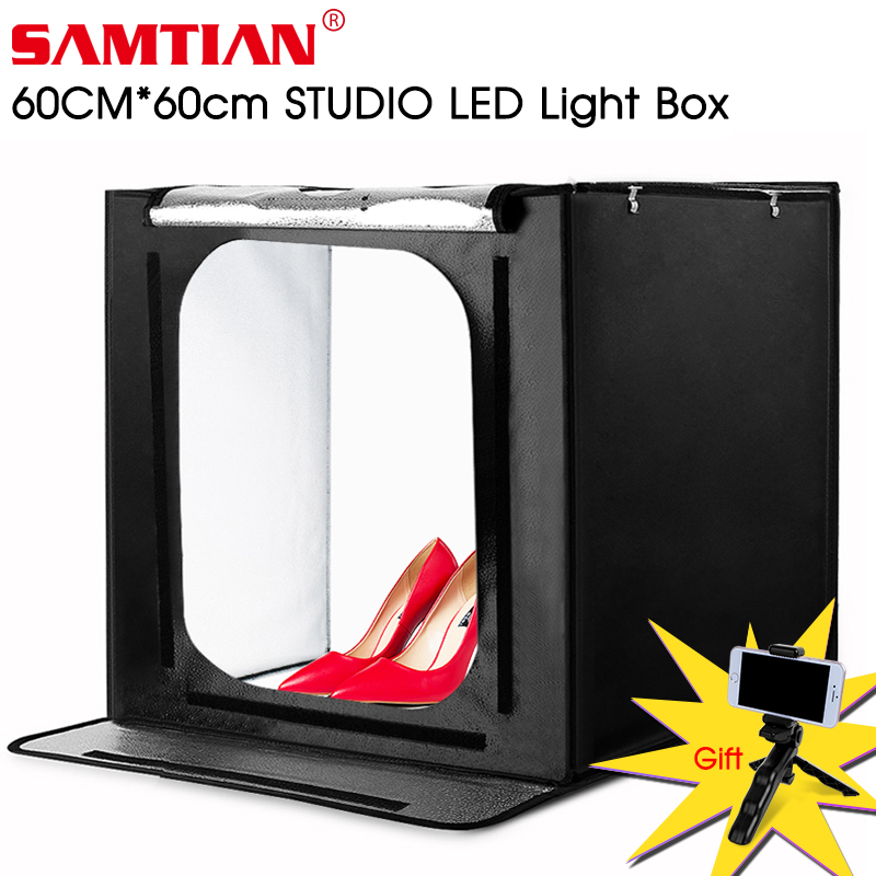 SAMTIAN F60 boîte lumineuse 60*60 CM led Lightbox Pliage Softbox Avec Trois Couleurs Fond Pour Studio Photo Photographie Boîte