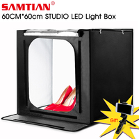 SAMTIAN Photo box 60cm Light Box Fold softbox tent With 3 Colors Background For Jewelry Toy Photography photo lightbox LED light