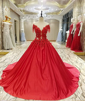 long dresses for wedding party red satin ball gown scoop appliqued lace beading elegant evening gowns 2018