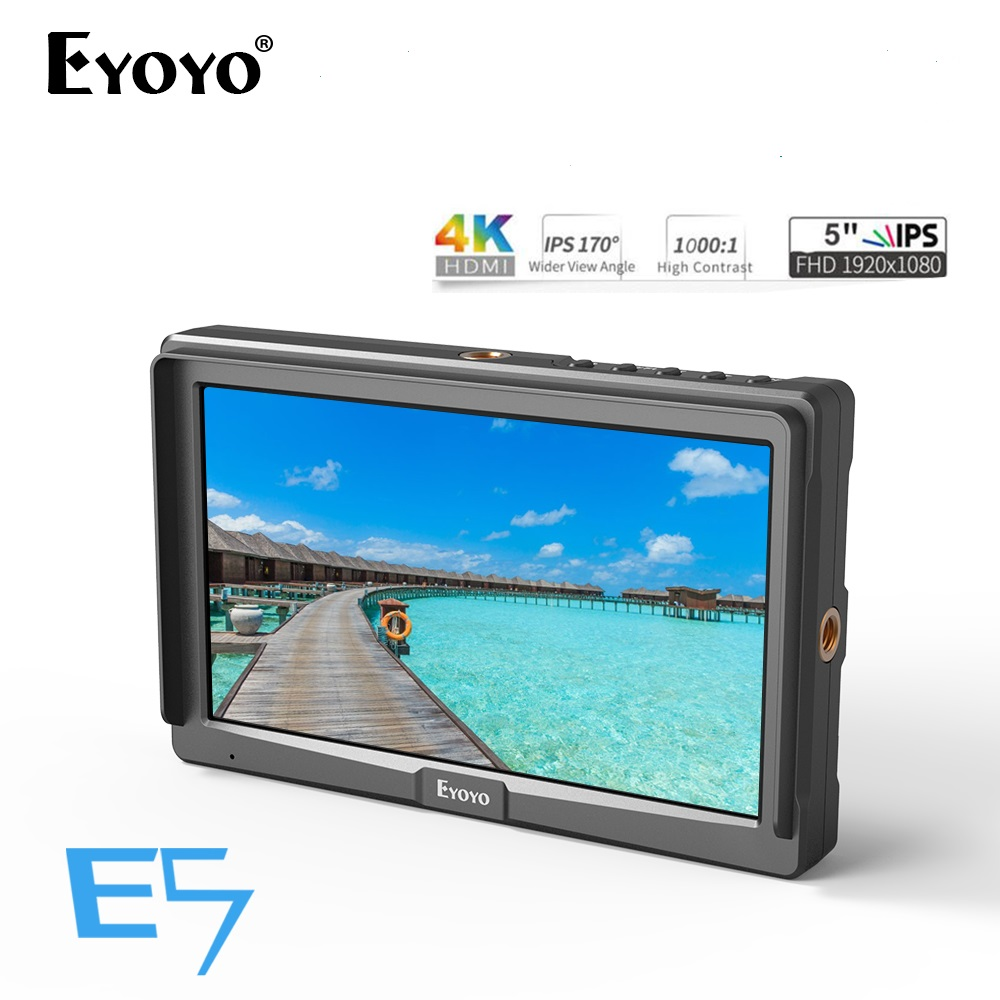 Eyoyo 5inch Utra Slim IPS Full HD 1920x1080 4K HDMI On-camera Video Field Monitor for CameraEyoyo 5inch Utra Slim IPS Full HD 1920x1080 4K HDMI On-camera Video Field Monitor for Camera