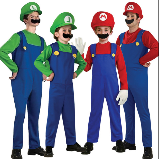 Children Adult Red Green SuperMary Costume For Children Amazing Super Mario Luigi Brothers Plumber  Cosplay Performance Clothing