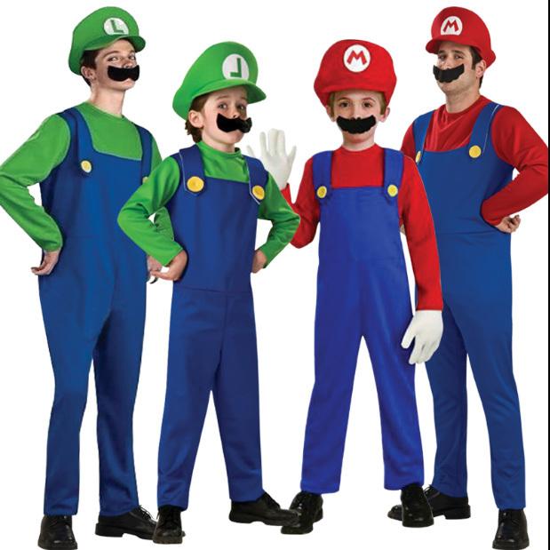 Crianças Adulto Vermelho Verde SuperMary Incrível Super Mario Luigi Irmãos Plumber Traje Para As Crianças Cosplay Roupas Desempenho
