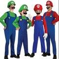 Niños Adultos Rojo Verde SuperMary Disfraz Para Niños Increíble Super Mario Luigi Brothers Plumber Rendimiento Ropa Cosplay