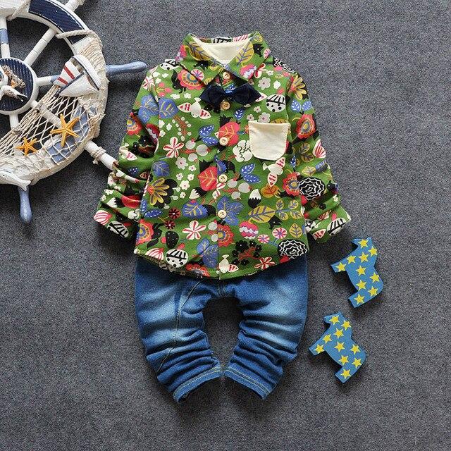 Children's Clothing Sets Kids Boys Outfit 2 Pcs Floral Print Shirt +Jeans Fashon School Autumn Kids Clothes Sets