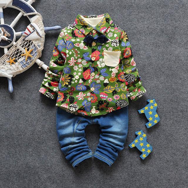 Ropa para niños Establece Muchachos de Los Cabritos Outfit 2 Unids Floral Print Shirt + Jeans de Fashon Escuela de Otoño Arropa Los Sistemas