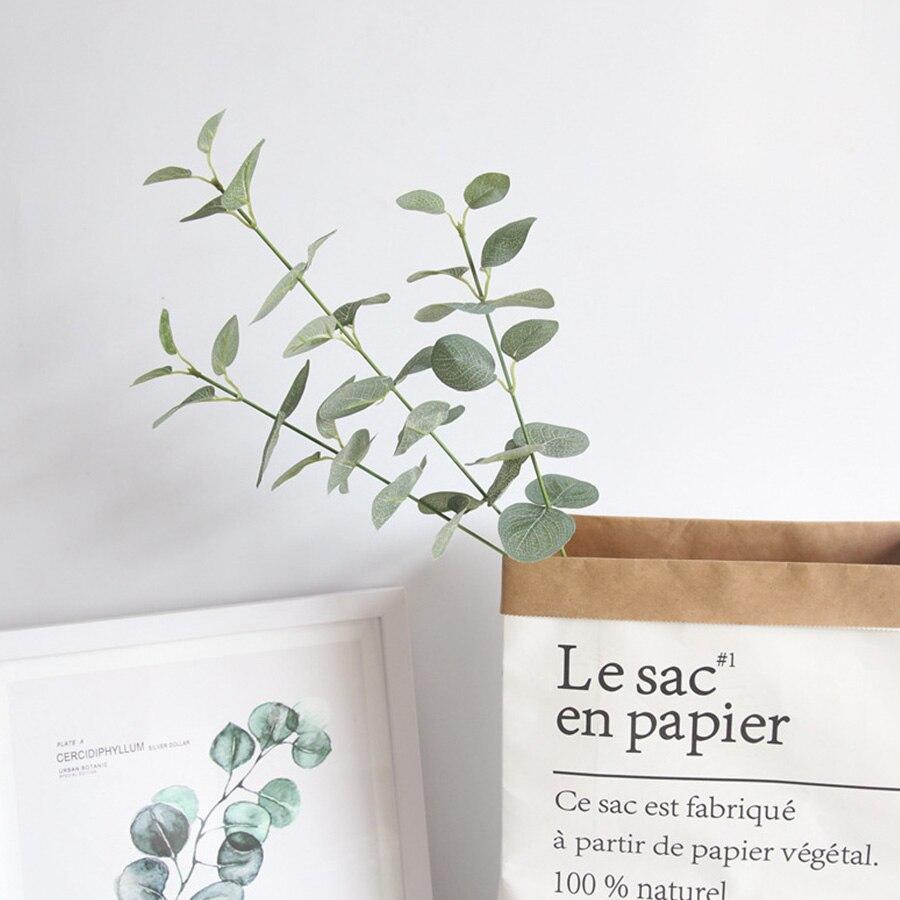 68CM Retro Green Silk Eucalyptus Artificial Leaves for Home  And Table Decor 3