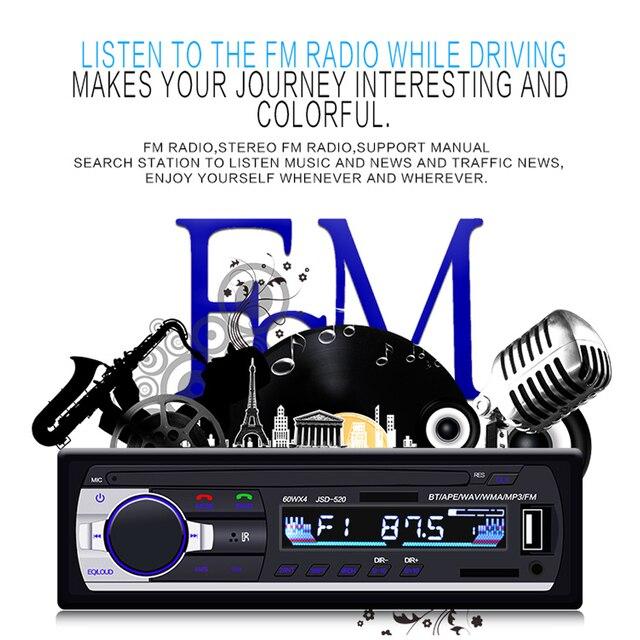 AMPrime Bluetooth Autoradio Car Stereo Radio FM Aux Input Receiver SD USB JSD-520 12V In-dash 1 din Car MP3 Multimedia Player 2