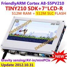 Free shipping FriendlyARM S5PV210 Cortex A8 Development Board TINY210 SDK 7inch Touch Screen 512MRAM 512M SLC