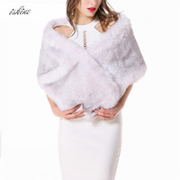 Khaki Faux Rabbit Fur Poncho Shawl Scarf Ladies White Elegant Vintage Formal Dress Shawl Stole For Wedding Party 148*30 CM