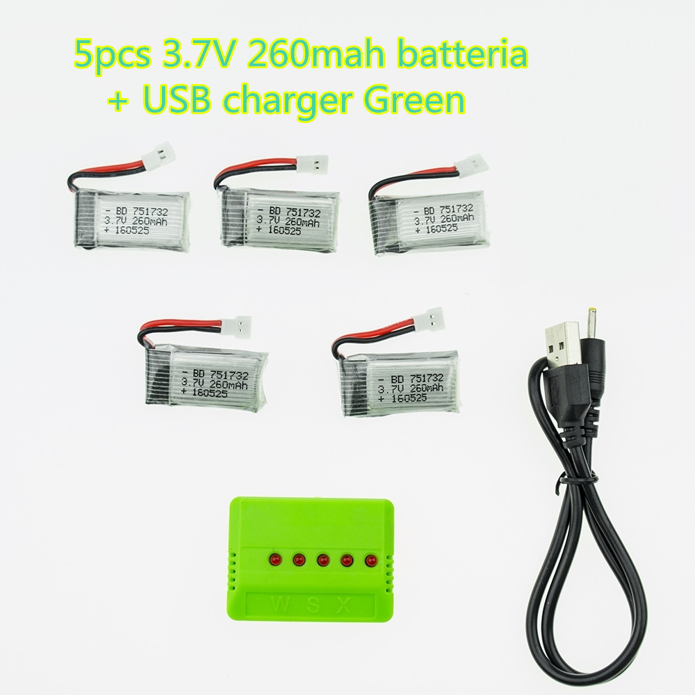 5Pcs 3.7V 260mAh Lipo Battery and USB green Charger X5 for JJRC H8 Eachine H8 Mini RC Quadcopter drone parts wholesale
