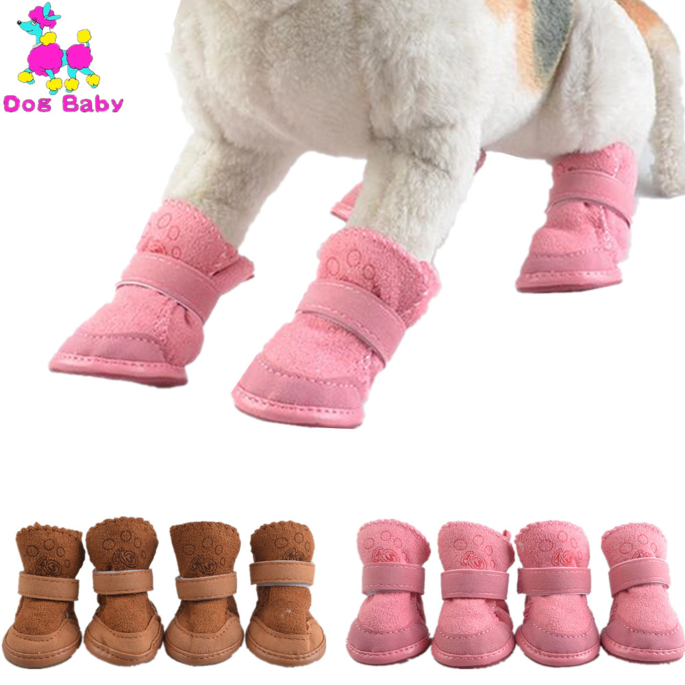 DOGBABY Solid Winter Dogs Shoes Anti Slip Cotton Pet Foots Shoes Keep Wram Soft Shoes For Chihuahua Yorkshire Brown Pink 5 Size
