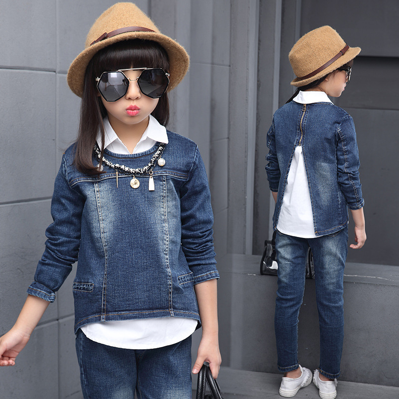 Princess Costume For Girls 2018 Fashion Spring Cotton Sets Denim Pullovers Girls Clothing Sets White Shirts + Denim Tops + Pants children clothing sets spring cotton girls clothing sets fashion high quality denim coat page 3