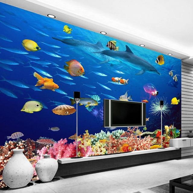 תמונה מותאמת אישית טפט 3D מתחת למים בעולם הילדים חדר קיר קיר קישוטי סלון מיטת חדר מודרני קיר נייר רולס
