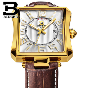 Cool Deformed Men Square Watches Casual Fashion Gold Leather Strap Wristwatch Japan Quartz Calendar Watch Week Waterproof Montre