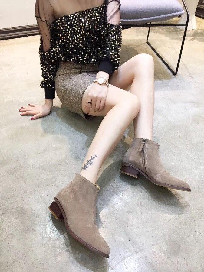 Gris Cuir 2018 Femmes Cheville Chaussons Pointu Automne À Casual Argent Bottes Chelsea Bas argent Catwalk En Mode Talons De wqT1Bq
