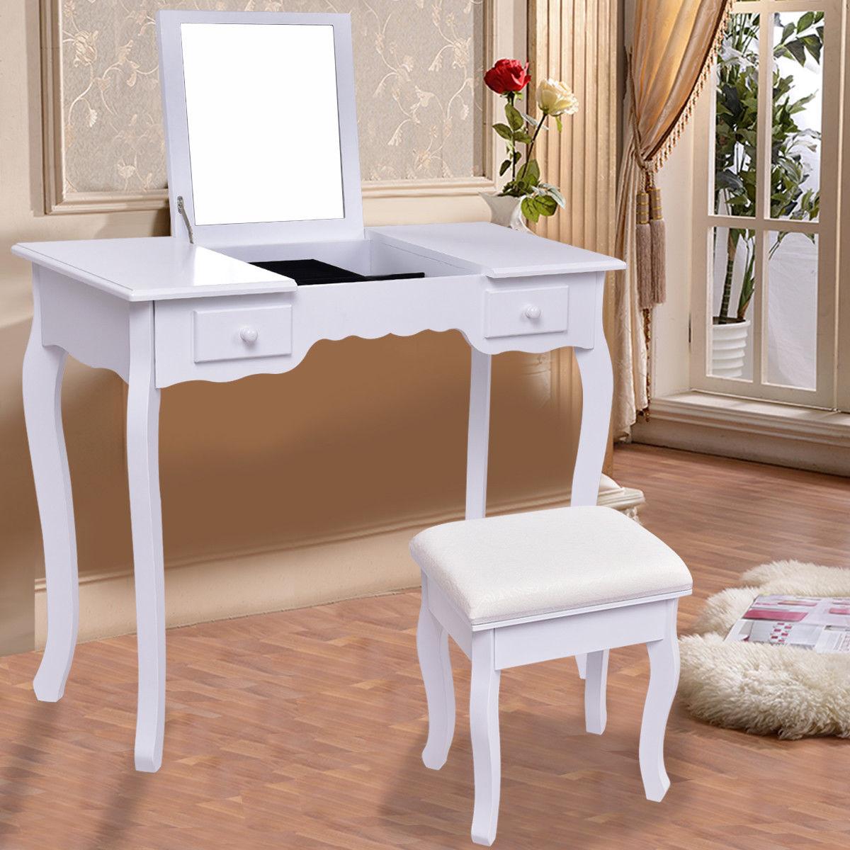 giantex blanc vanite coiffeuse ensemble miroir salle de bains meubles avec tabouret table moderne make up commodes bureau hw56231wh dans commodes de meubles