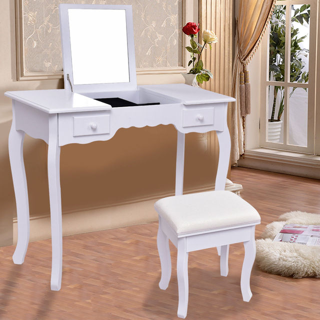 Giantex White Vanity Dressing Table Set Mirrored Bathroom Furniture With  Stool Table Modern Make Up Dressers