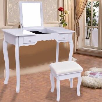 Giantex blanco vanidad tocador set espejo Muebles de baño con heces ...
