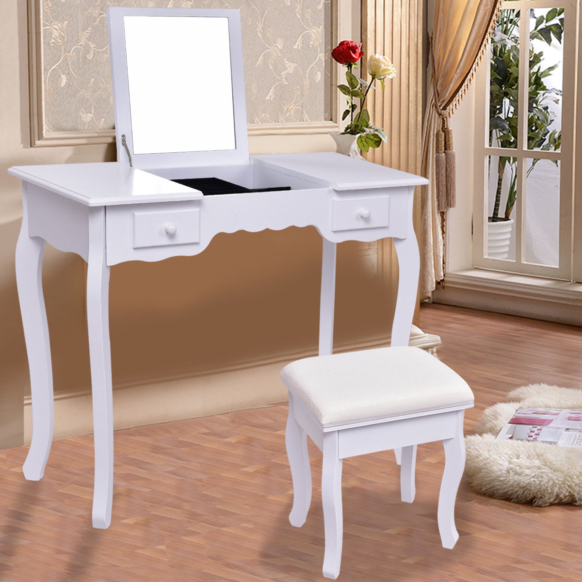 Giantex White Vanity Dressing Table Set Mirrored Bathroom Furniture With Stool Table Modern Make Up Dressers Desk HW56231WH ...