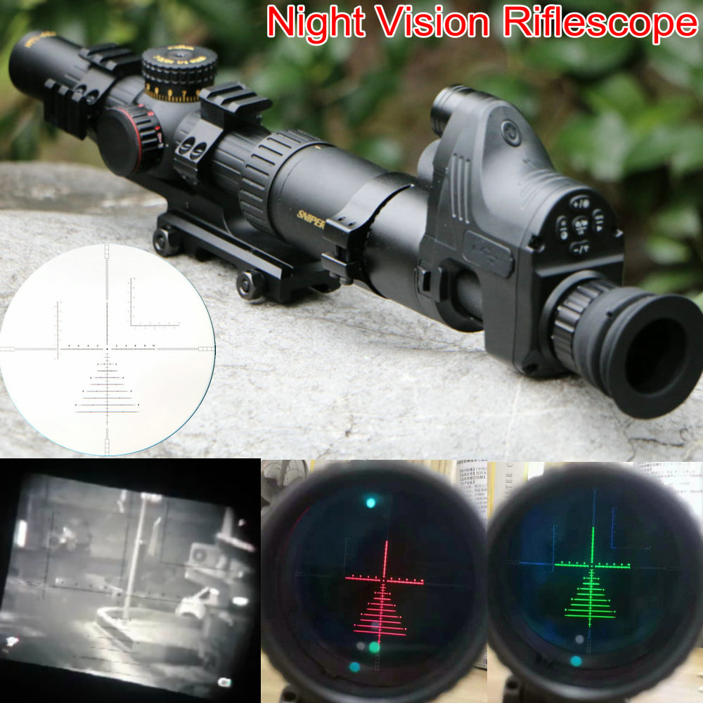 Night Vision Riflescope SNIPER NT 1-6X24 GL Riflescopes w/ Night Vision Monocular Tactical Optical Sight Hunting Rifle Scope