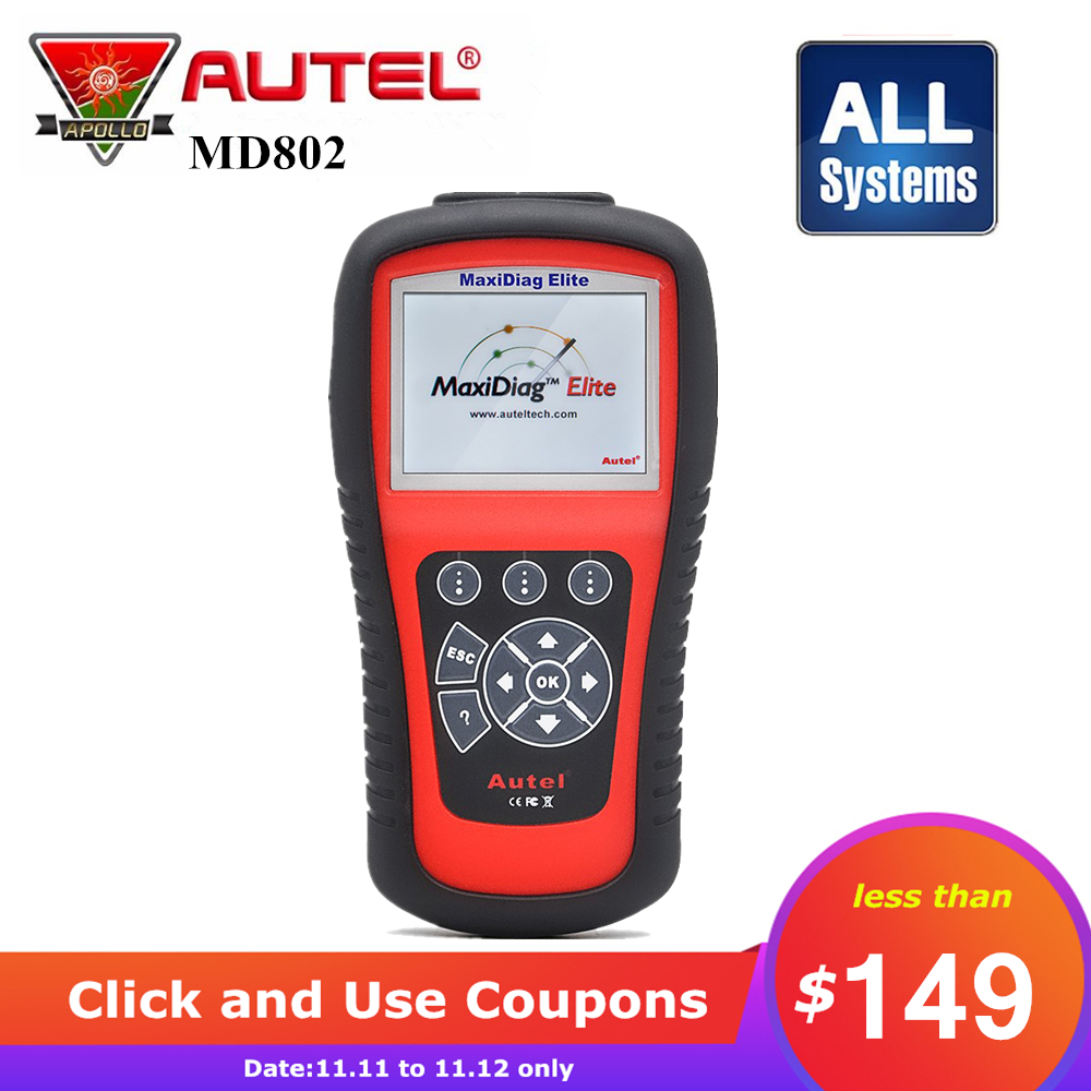 цена на [Autel Distributor] Autel MD802 MaxiDiag Elite Scan Tool Full System Engine Transmission ABS & Airbag All System Diagnostic Tool