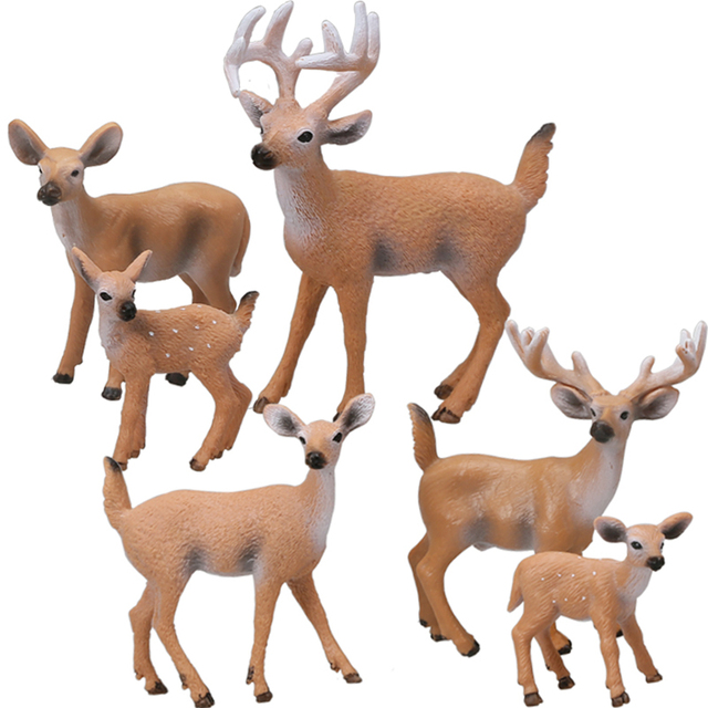 1PC Home Party Decoration Static Decor Xmas Cute 1pc HOT PVC Deer Figure Christmas Fashion Family of Three Doll 2