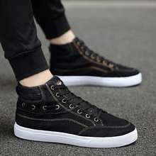 2019 explosion fashion mens shoes wild casual denim high canvas comfortable breathable