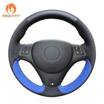 MEWANT Black Suede Genunie Leather Hand Sew Wrap Car Steering Wheel Cover for BMW M Sport M3 E90 E91 E92 E93 E87 E81 E82 E88