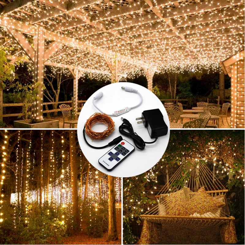 Kobber String Light 10M / 20M / 30M / 50M DC12V Jul Fairy Lights - Ferie belysning