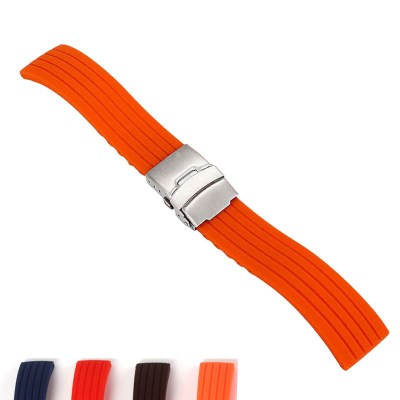 Karet silikon 16,18, 20, 22, 24mm Watch Band Strap Deployment Buckle Gelang Jam Waterproof dengan Stainless Steel Buckle 4 Warna