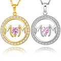 2017 new BRZHA brand Mom Necklace Gift For Mother Women Jewelry silver Plated Pink Crystal Heart CZ Zircon Round Pendant Bijoux
