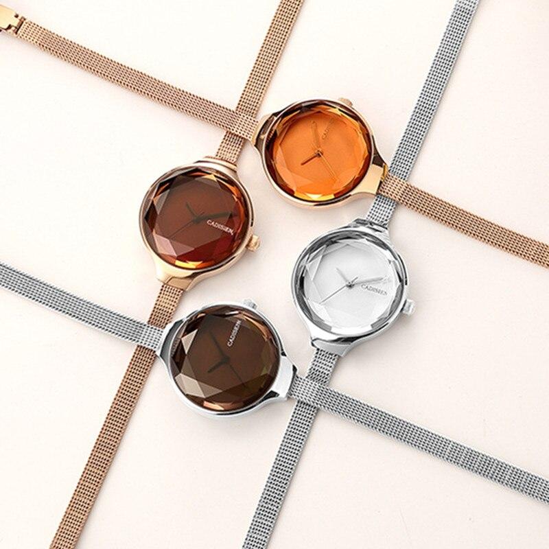 Women Watch CADISEN Luxury Brand Fashion Casual Unique Lady Wrist Watches Full Steel Quartz Watches Relogio Feminino Gift C2020