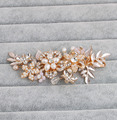 2016 New Fashion delicate handmade gold flower bridal hair comb pearls hair stick crystal wedding combs