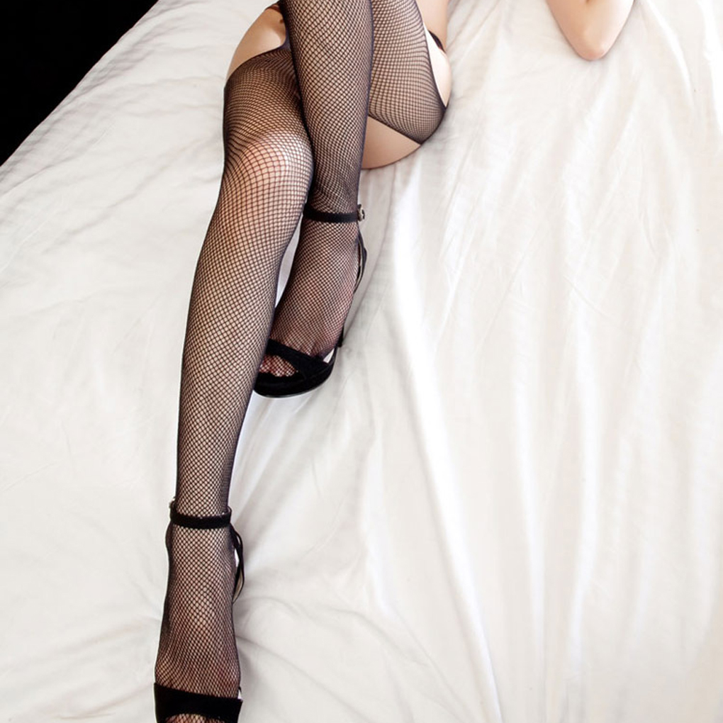 Sexy underwear 4 sides open files ultra-thin cored wire stretch mesh stockings