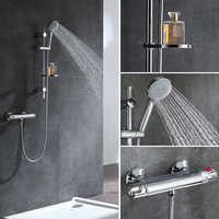 Micoe Thermostatic Bathtub Faucet Bathroom Brass Shower Set 150mm In-wall Mount Hot & Cold Water Temperature Short Mixer