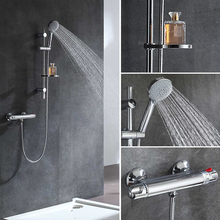 Micoe Thermostatic Bathtub Faucet Bathroom Brass Shower Set 150mm In-wall Mount Hot & Cold Water Temperature Short Mixer все цены