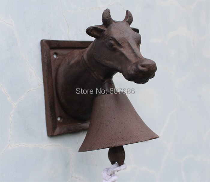 Cast Iron Ornate Ox Head Door Bell Rusty Welcome Dinner Bell Cottage Bell Wall Mounted Gate Patio Garden Pub Farm Free Shipping
