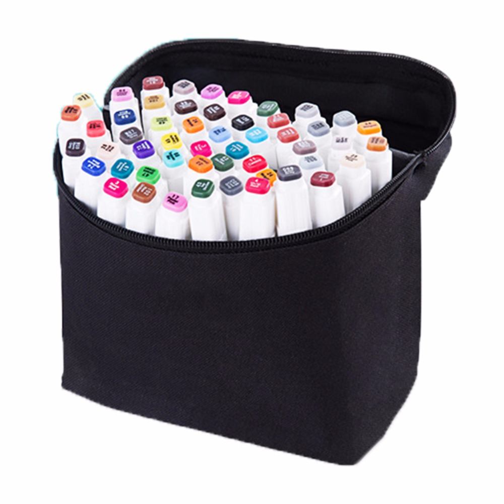 40 Colors Artist Dual Head Sketch Water Color Brush Markers Set School Drawing Pencil Oily Mark Pen Set Gift Black White Color touchnew 60 colors artist dual head sketch markers for manga marker school drawing marker pen design supplies 5type