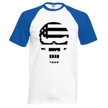 Punisher Skull American Flag Printed Summer Fashion Raglan Men's T-shirt
