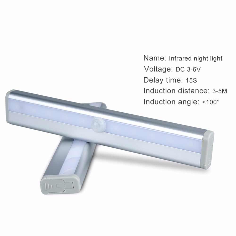 Foxanon LED luz nocturna IR Sensor de movimiento infrarrojo batería armario luz lámpara inalámbrica cocina escaleras iluminación
